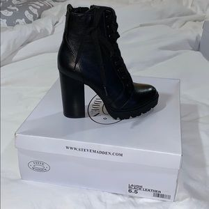 "NWT Steve Madden ""Laurie"" black leather boots"